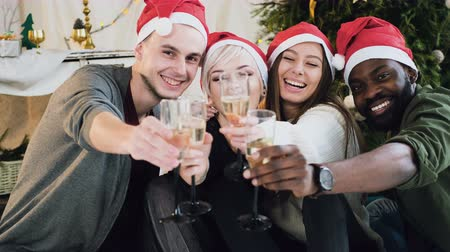 cheers : Cheerful mixed race people have fun holding wineglasses with champagne before Christmas or New Year at home near christmas tree. In the New Year a group of friends in caps of Santa Claus drink wine in wineglasses, smiling, laughing in the Christmas room Stock Footage