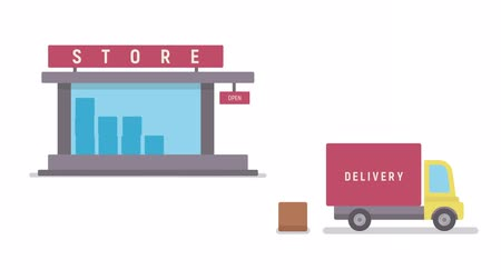 Shop and delivery service. Concept of sales business. Flat animation. Stock Footage