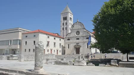 adriyatik : Church of Santa Maria in Zadar, Croatia Stok Video