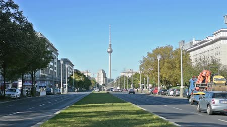 realista : in view of the Karl-Marx-Allee in Berlin Stock Footage