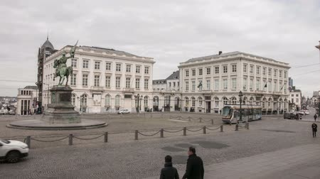 belga : The traffic on the Place Royale in Brussels. Time Lapse. Stock Footage