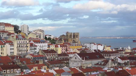 alfama : An aerial view of the roofs in the Alfama district in Lisbon, Portugal
