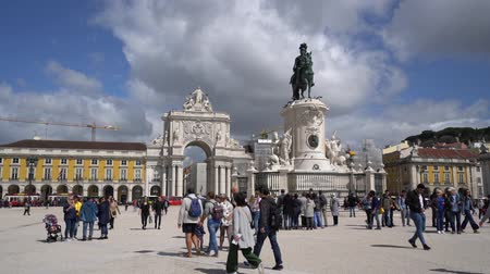 triumphal arch : the statue of Joseph I in the Commerce Square in Lisbon, Portugal