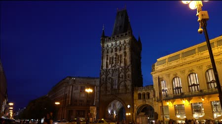 mediaeval : View of the Powder Tower in the evening in Prague, Czech Republic Stock Footage