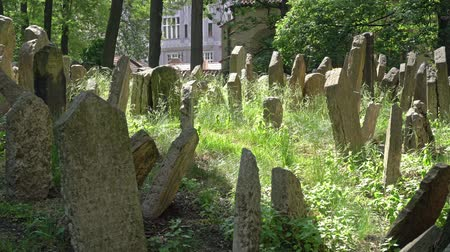надгробная плита : The graves of the old Jewish cemetery in Prague, Czech Republic