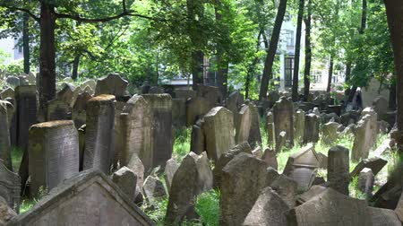 hrobky : The graves of the old Jewish cemetery in Prague, Czech Republic