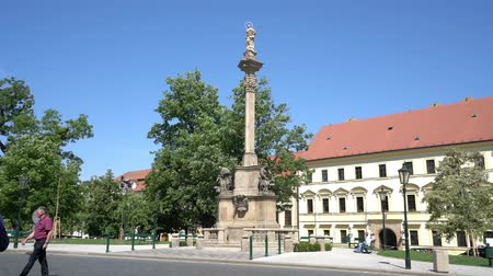 lesser : Hradcanske Namesti, Columns of the Plague in Prague, Czech Republic Stock Footage