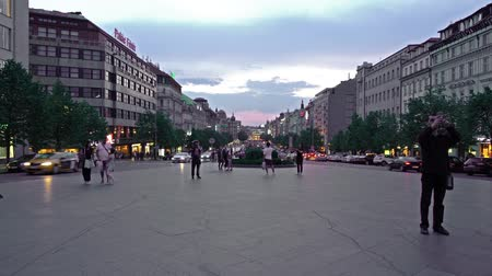 namesti : sunset view of the Wenceslas Square in Prague, Czech republic