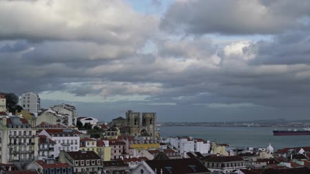 miradouro : panoramic timelapse view of Alfama district in Lisbon, Portugal Stock Footage