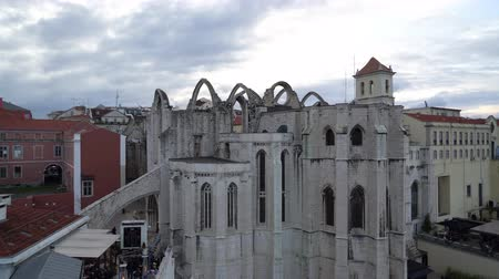 roofless : An aerial view of Convento do Carmo in Lisbon, Portugal Stock Footage