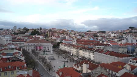 alfama : The aerial view of Dom Pedro IV Square, also called Rossio in Lisbon, Portugal