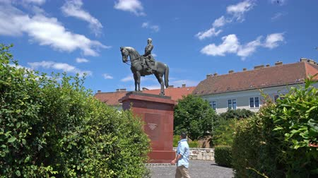 talapzat : the equestrian statues of Grgey-szobor in the Buda castle district in Budapest, Hungary Stock mozgókép
