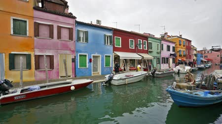 water puppet : Timelapse view of the colors of houses in Burano Stock Footage