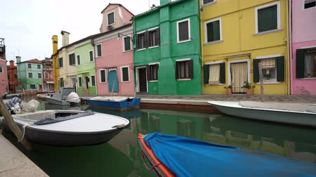 none : The colored houses in Burano Island, Italy Stock Footage