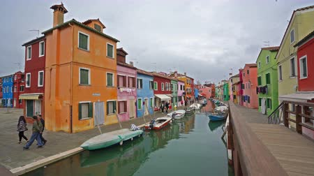 water puppet : view of the colors of houses in Burano island, Italy Stock Footage