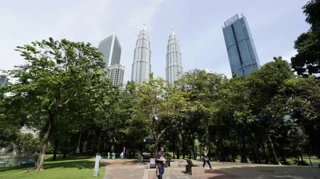 The KLCC park with a view of Petronas in the background in Kuala Lumpur, Malaysia