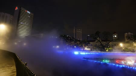 night view of the riverside on the Klang river with fog in Kuala Lumpur, Malaysia