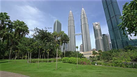 Kuala Lumpur, Malaysia. January 2019. A view of KLCC park with the Petronas twin towers on the background