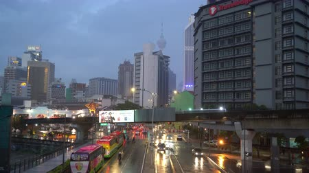 Kuala Lumpur, Malaysia. January 2019. A view of the traffic on the streets in the rainy day