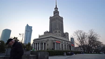 Warsaw, Poland. April, 2019. A view of the Palace of Culture and Science at sunset.