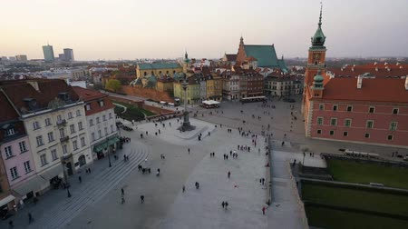 warszawa : Warsaw, Poland. April, 2019. Aerial view of the Stare Miasto square at sunset