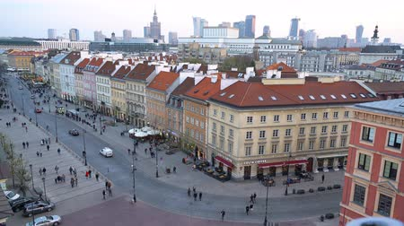 warszawa : Warsaw, Poland. April 2019. Aerial view of Zamkowy Square at sunset