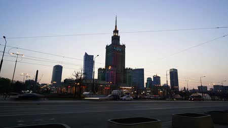 warszawa : Warsaw, Poland. April, 2019. A view of the Palace of Culture and Science at sunset.