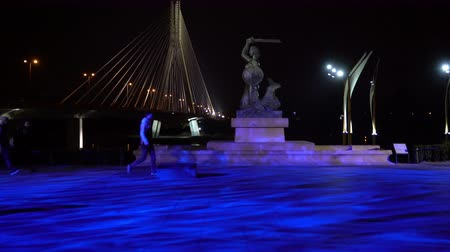 warszawa : Warsaw, Poland. April 2019. the statues of the mermaid on the bank of the Vistula river at night