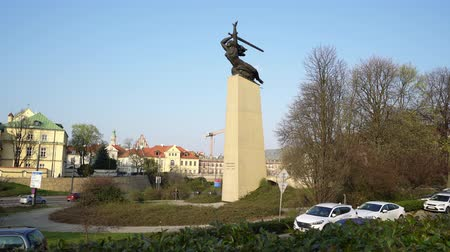 warszawa : Warsaw, Poland. April 2019. A view of Monument to the Heroes of Warsaw also called Nike Stock Footage