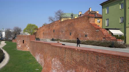 bástya : Warsaw, Poland. April 2019. the medieval walls in the old town