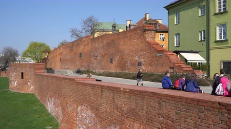 warszawa : Warsaw, Poland. April 2019. the medieval walls in the old town
