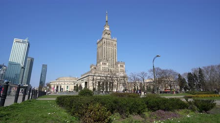 warszawa : Warsaw, Poland. April 2019. A panoramic view of the Palace of Culture and Science.