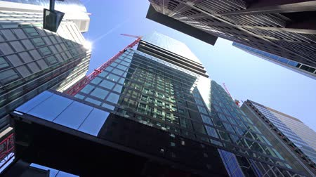 visto : Frankfurt, Germany. July 2019. modern skyscrapers in the financial district seen from below. Stock Footage