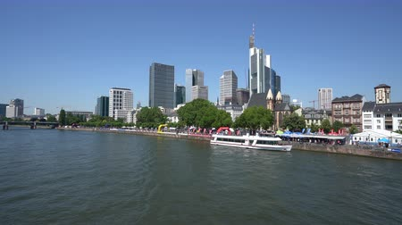 baharatlı alman sosisi : Frankfurt, Germany. July 2019. the skyline of the city against the background of the river Main