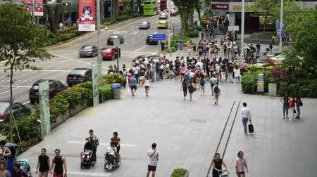 turistická atrakce : Singapore, January 2020. The time lapse view of the crowd in the sidewalks of Orchard road