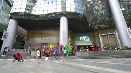 ion : Singapore, January 2020. the people in front of the stores outdoor of ION Orchard shopping mall entrance