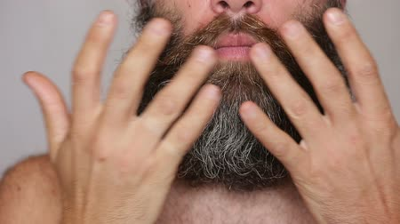 mustache : White Man Taking Care of his Lush Beard and Mustache HD