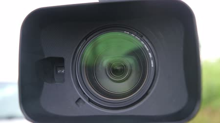 broadcast video : Close up of Digital Video Camera Lens with a Hood HD