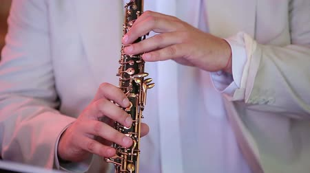 woodwind : Musician playing the oboe closeup Stock Footage