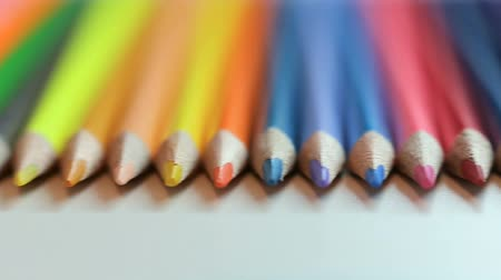 peper : Color pencils on white table Stock Footage
