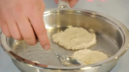 Frying cottage cheese pancakes