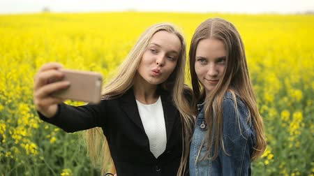 Teenager friends posing and taking selfies Wideo