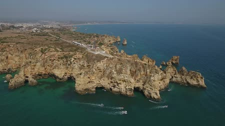 ponta da piedade : Aerial. Cape Ponta de Piedade, drone filmed from the sky.