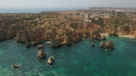 ponta da piedade : Aerial. Cape POnta de Piedade from the sky drone shot of beach time.