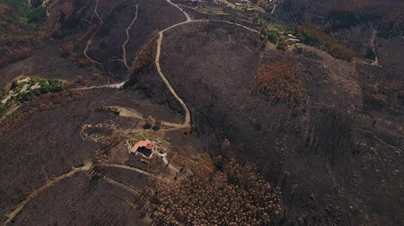 slash and burn : Aerial. Terrific view the burning land. View from the sky. Portugal Monchique.