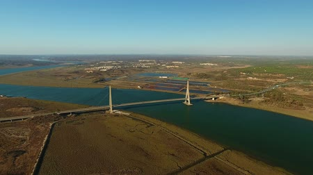 chloride : Aerial. Bridge over Guadiana view from sky. Border Spain Portugal.