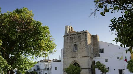 arco : Catedral Church of Old City of Faro Santa Maria. Portugal algarve Stock Footage