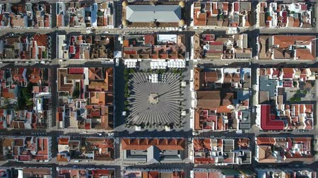 architecture and urbanism : Video from the sky Marques Pombal Square in Vila Real Santo Antonio.