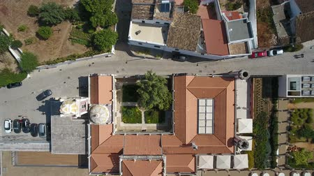 mansão : Aerial. 2 Setember 2017- Portugal Estoi Flying a drone over a historic castle in the village.