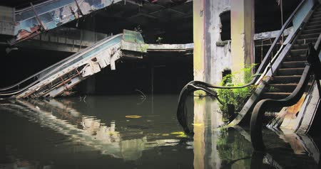 abandoned house : Flood disaster background. Destroyed and forgotten empty and creepy building abandoned for long time Stock Footage
